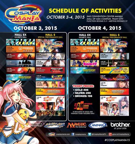 Cosplay Mania Schedule